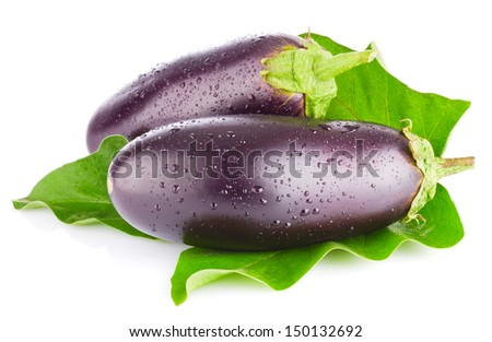 eggplant with green leaf isolated on white background - stock photo