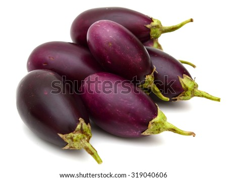eggplants close up isolated on white  - stock photo
