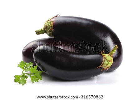 Eggplants isolated on white background - stock photo