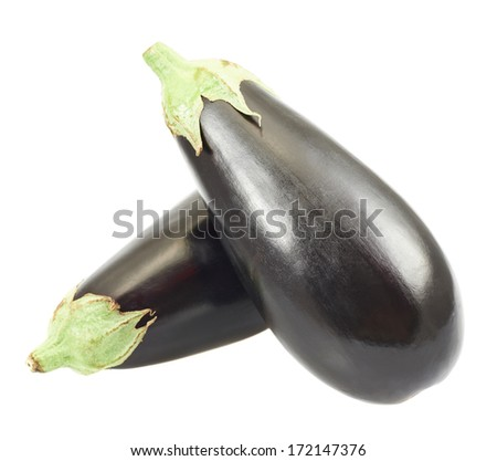 Eggplants, one over another isolated over white background - stock photo