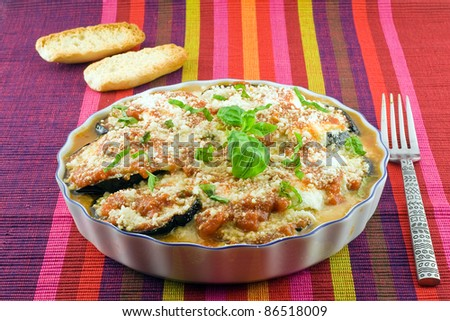 eggplants parmigiana  with cheese and tomato traditional recipe - stock photo