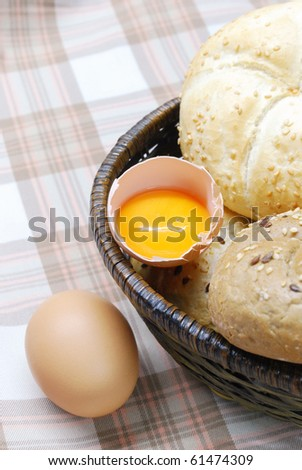 Eggs and freshly baked bread - stock photo