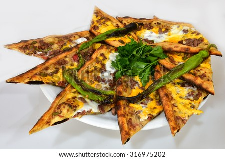 eggs and meat pide - stock photo