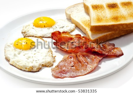 eggs bacon and toast breakfast - stock photo