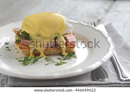 eggs benedict in a cut portion