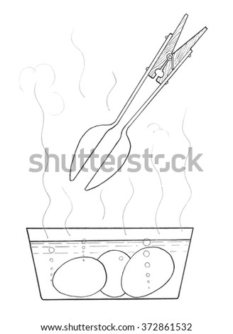 Eggs get from the boiling water. Schematic drawing - stock photo