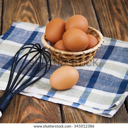 Eggs in a basket and whisk on a napkin on a wooden background