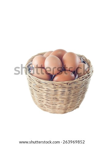 Eggs in a basket isolated on white background - stock photo