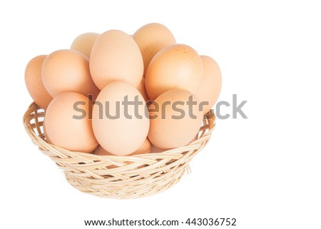 eggs in basket on white background
