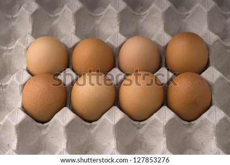 Eggs in carton, Healthy Eating. - stock photo
