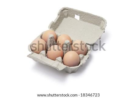 Eggs in Egg Carton on White Background - stock photo