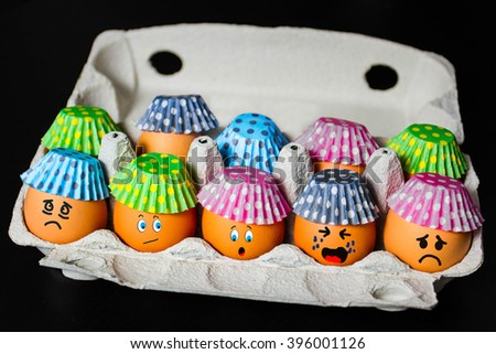 Eggs in paper baskets for candy