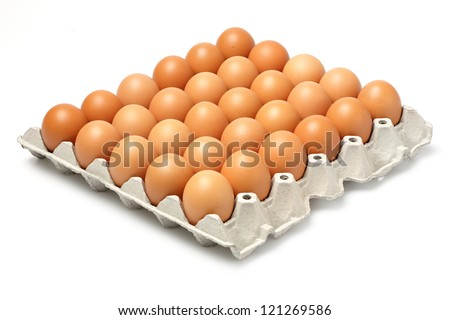 Eggs in paper tray isolated on white - stock photo
