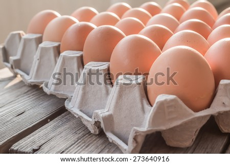 Eggs in paper tray on wood - stock photo