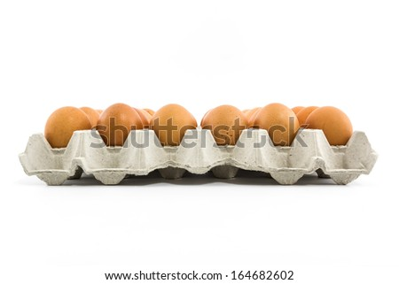 Eggs in the  paper tray package isolated on white background. - stock photo