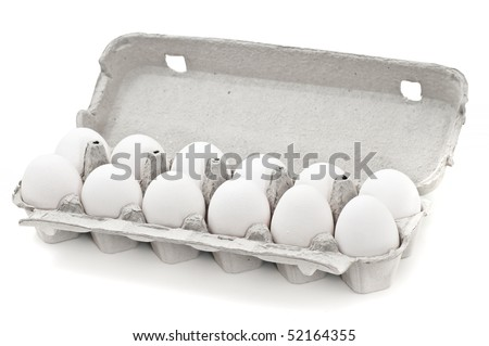 Eggs isolated on white - stock photo