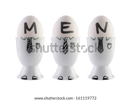 Eggs, men concept. Clipping path included.