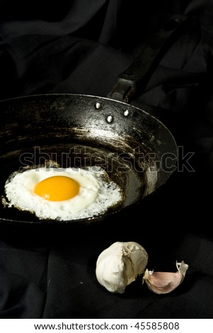 eggs on a black pan