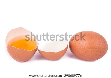 eggs on a white background with an open egg - stock photo