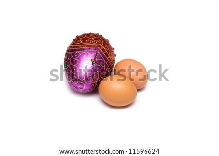 Eggs on the white - stock photo