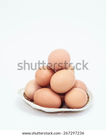 eggs on white backgrounds - stock photo