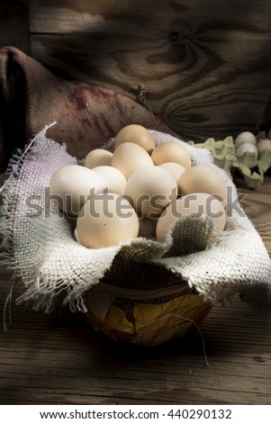 Eggs with a rustic background at farm house