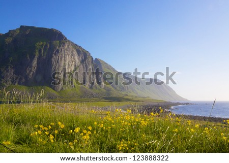 Eggum, popular spot for tourist to watch midnight sun on Lofoten, Norway