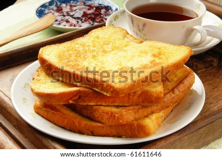 Eggy bread on the plate - stock photo
