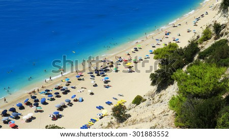 Egremni beach at Lefkada, Ionion sea, Greece - stock photo