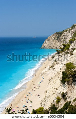 egremni beach, lefkada, greece - stock photo