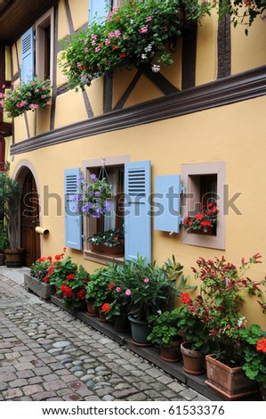 Eguisheim coloured house in Alsace