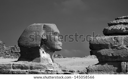 Egypt, Cairo, Death Valley, Pyramids, view of Giza sphinx, built 4500 years ago, still today the world's largest monolitic statue - FILM SCAN - stock photo
