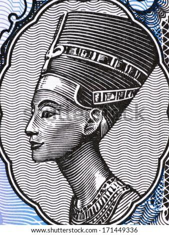 EGYPT - CIRCA 1998: Queen Nefertiti (1370-1330 BC) on 5 Piastres 1998 Banknote from Egypt. Great Royal Wife of the Egyptian Pharaoh Akhenaten. - stock photo