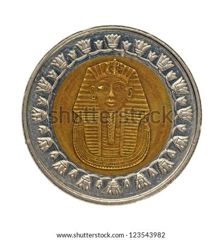 egypt coin, one pound isolated on white - stock photo