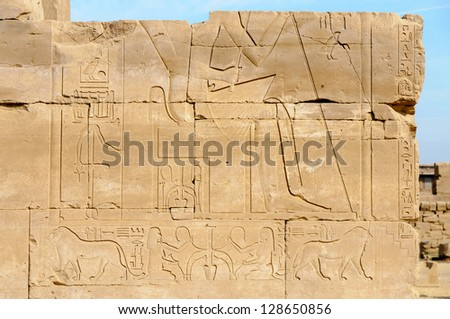 Egypt, detail of hieroglyphs in the Karnak temple of Luxor