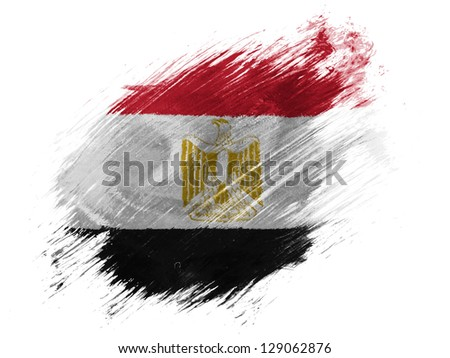 Egypt. Egyptian flag  painted with brush on white background - stock photo
