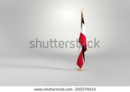 Egypt flag flag on a brown and golden wooden mast 3d illustration - stock photo