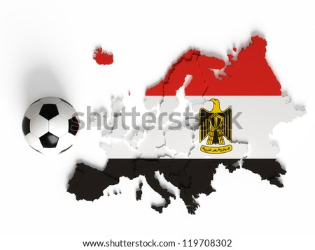 Egypt flag on European map with national borders, isolated on white background - stock photo