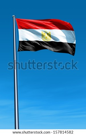 Egypt flag waving on the wind - stock photo