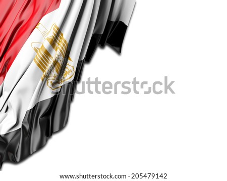 Egypt Flag with white - stock photo