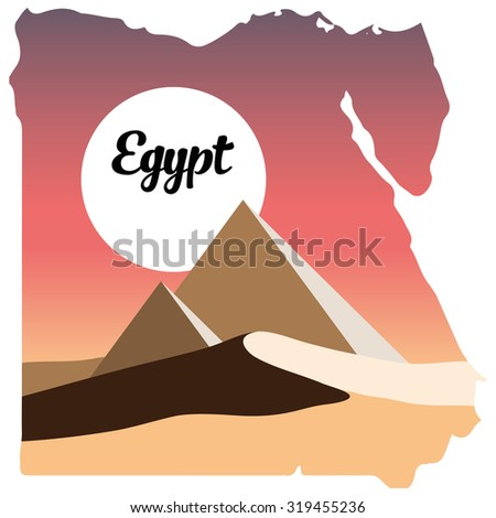 Egypt logo, Egypt map, desert and the pyramids, desert, Egypt, sunrise in desert, sunset in desert - stock photo