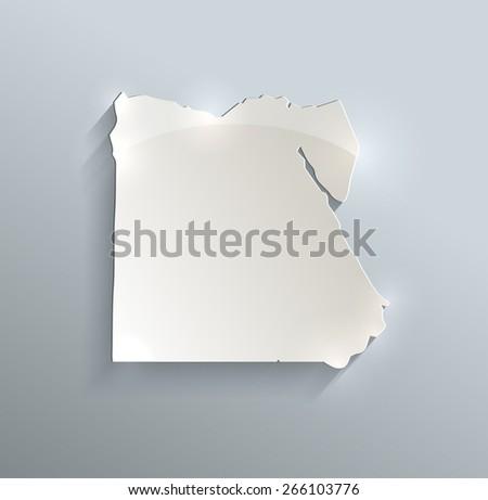 Egypt map blue white card paper 3D vector infographics raster - stock photo