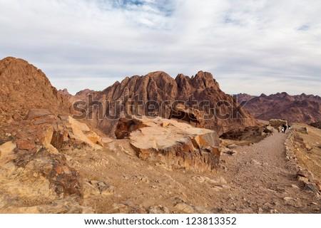 Egypt, Sinai, Mount Moses. Road on which pilgrims climb the mountain of Moses. - stock photo