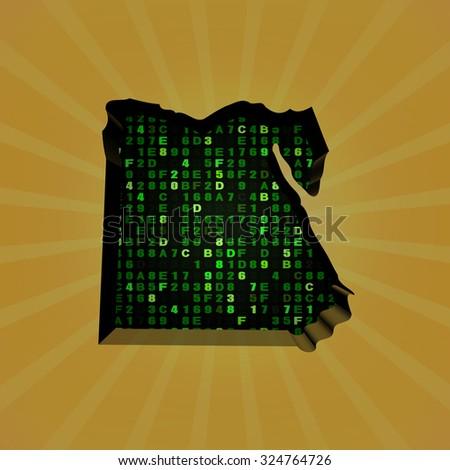 Egypt sunburst map with hex code illustration - stock photo