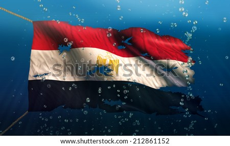 Egypt Under Water Sea Flag National Torn Bubble 3D - stock photo