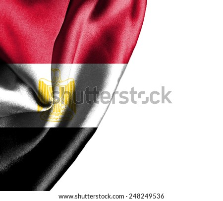 Egypt waving silky flag isolated on white background - stock photo