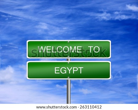 Egypt welcome sign post travel immigration. - stock photo