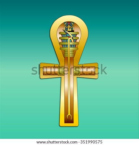 Egyptian Ankh Gold Copper Green Gradient Stock Illustration