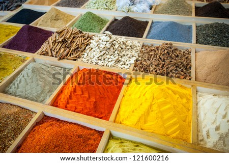 Egyptian Bazaar and the Grand Bazaar in Istanbul. Turkey. Egyptian spice market - stock photo