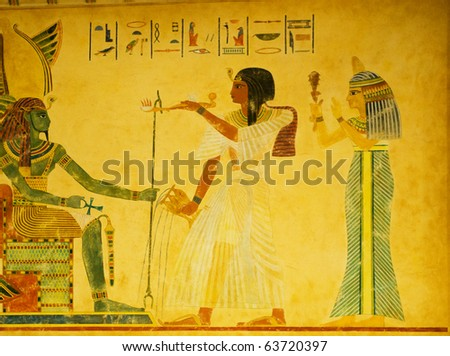 Egyptian concept with paintings on the wall - stock photo